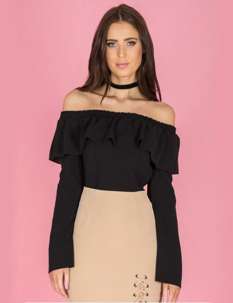 Style State top, front view of the Off the Shoulder Ruffle Top in black.