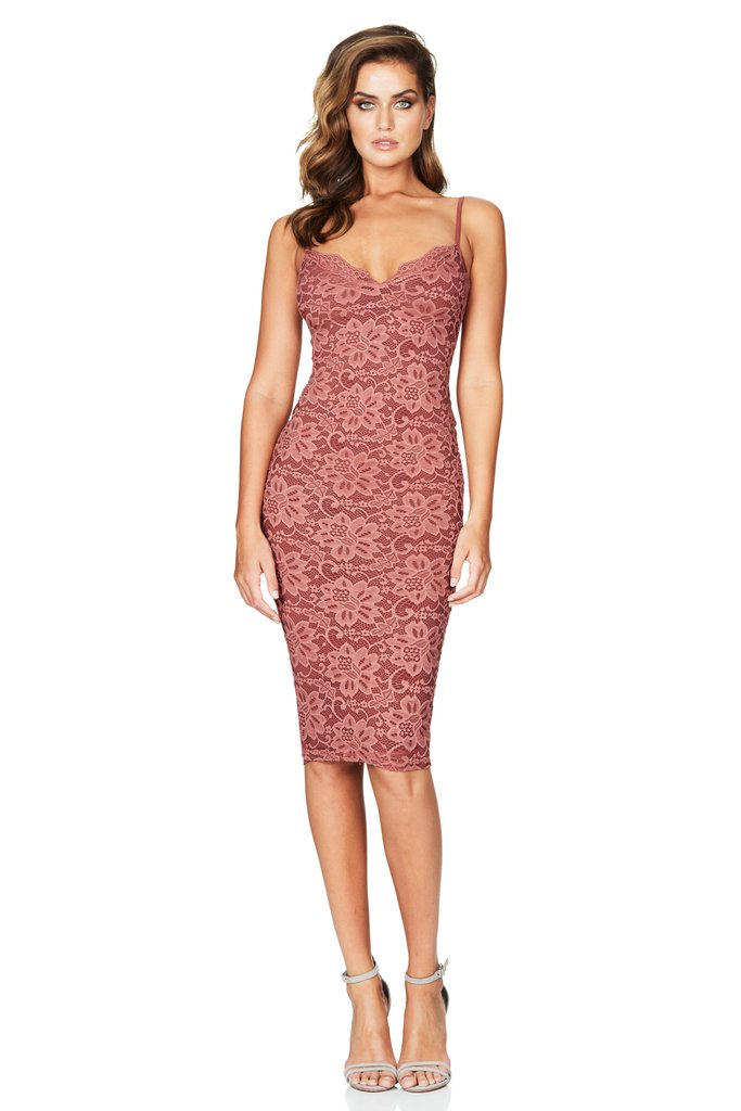 Paris Lace Midi Dress in Rose by Nookie the Label