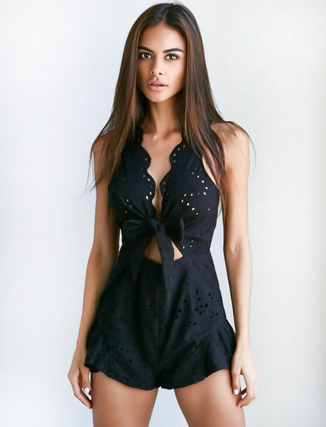 Pretty Thing Playsuit in Black by Tiger Mist