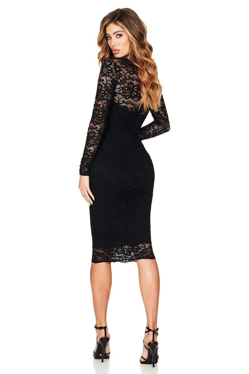 Black Long Sleeve Romance Midi Dress | by Nookie the Label