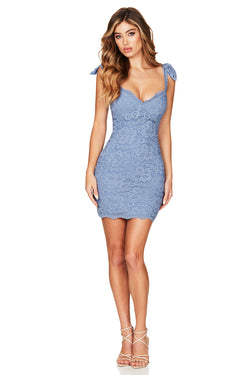 Romance Mini Dress in Dusty Blue by Nookie the Label