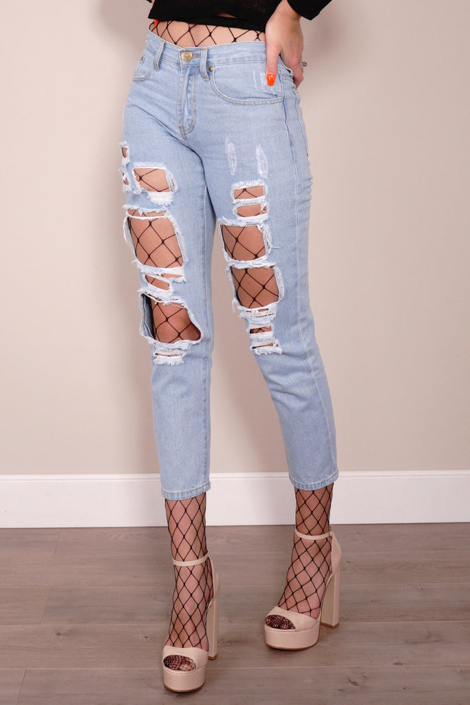 Reverse Jeans, cropped front view of the Ripped Denim Jeans in Light Blue.