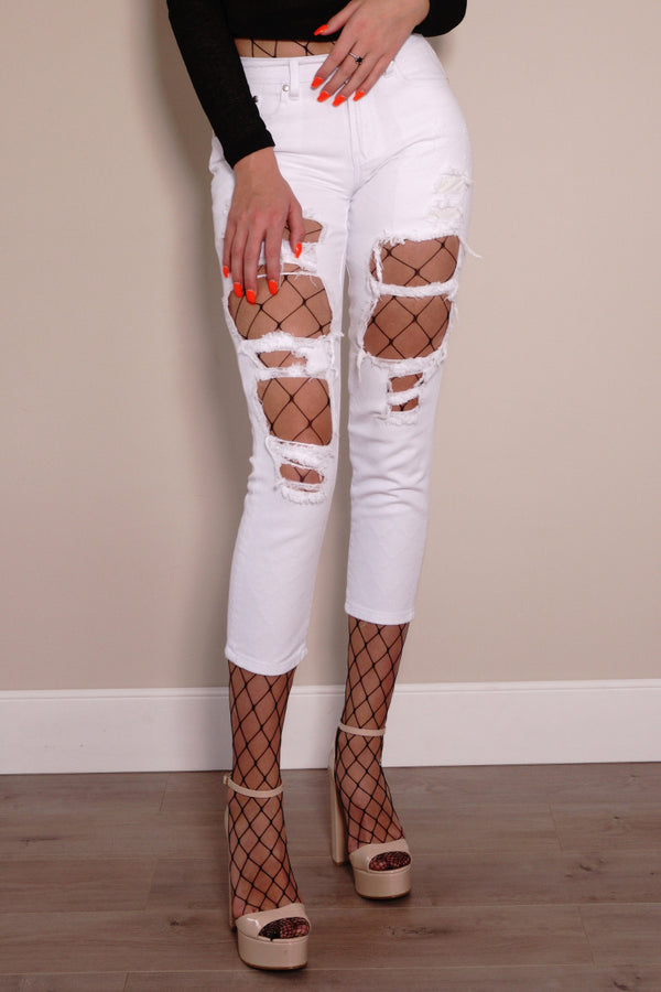Reverse Official jeans, cropped front view of Ripped Denim Jeans in white.