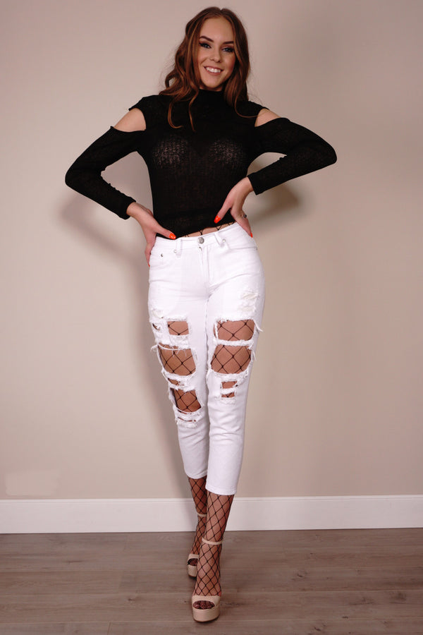 Reverse Jeans, front view of the Ripped Denim Jeans in white.