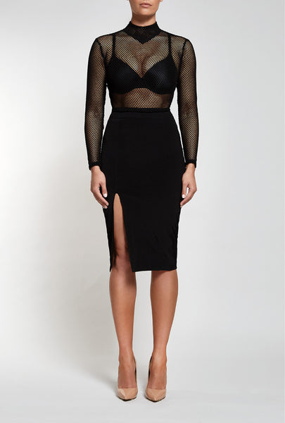 Front view of Reign Cartel, Unconditional Midi in black.