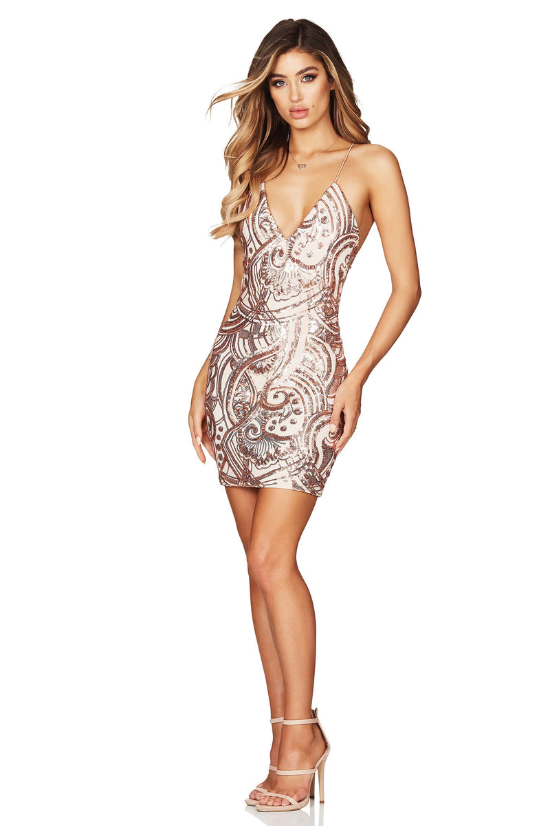 Sensation Mini Dress in Rose Gold by Nookie the Label