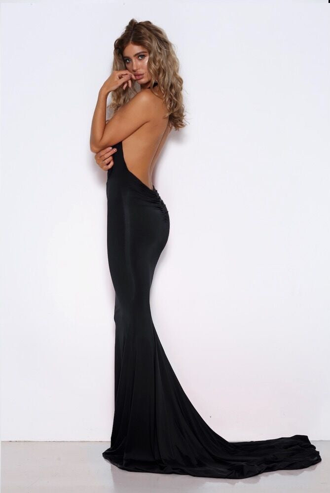 Shari Benjamin Dress, side view of the Audrey Dress in black.