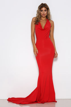 Shari Benjamin dress, front view of the Audrey, a red evening dress.