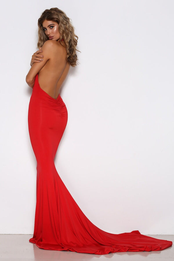 Shari Benjamin dress, side view of the Audrey, a red evening dress.