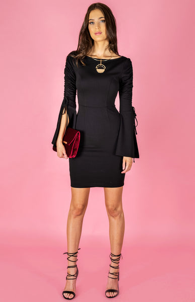 Drawstring Sleeve Body con dress by Style State front