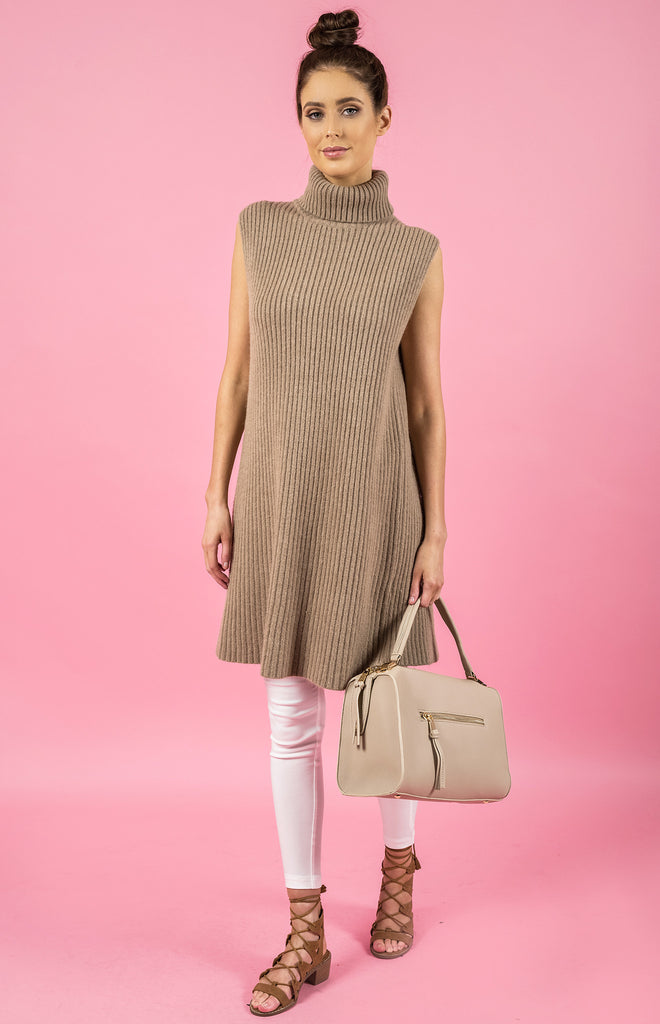 Style State dress, front view of the Sleeveless Open Back Knit Dress, in beige.