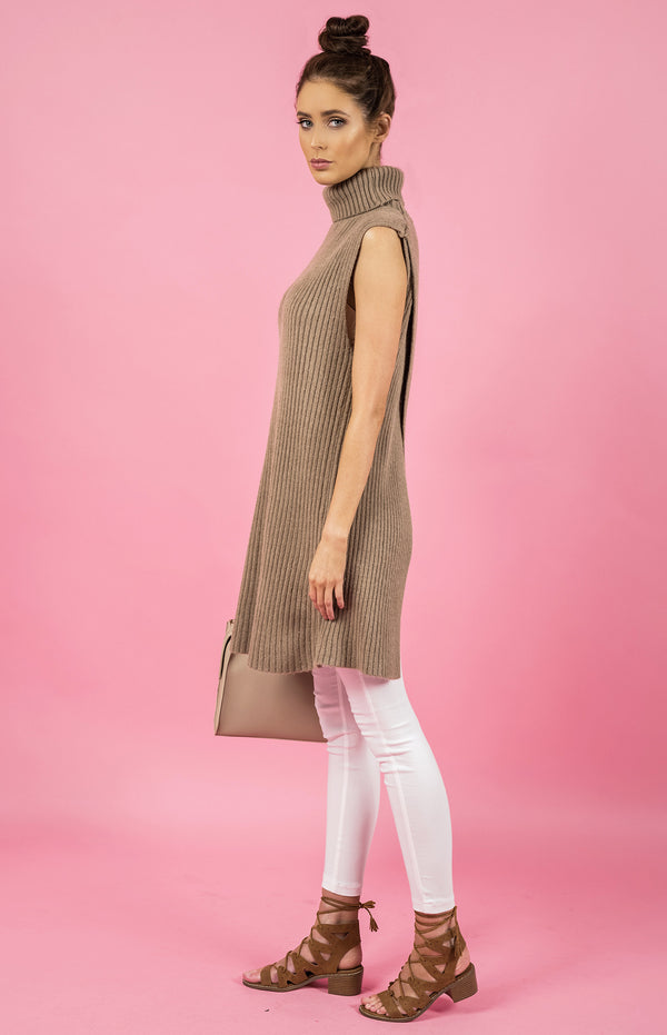 Style State dress, side view of the Sleeveless Open Back Knit Dress, beige.
