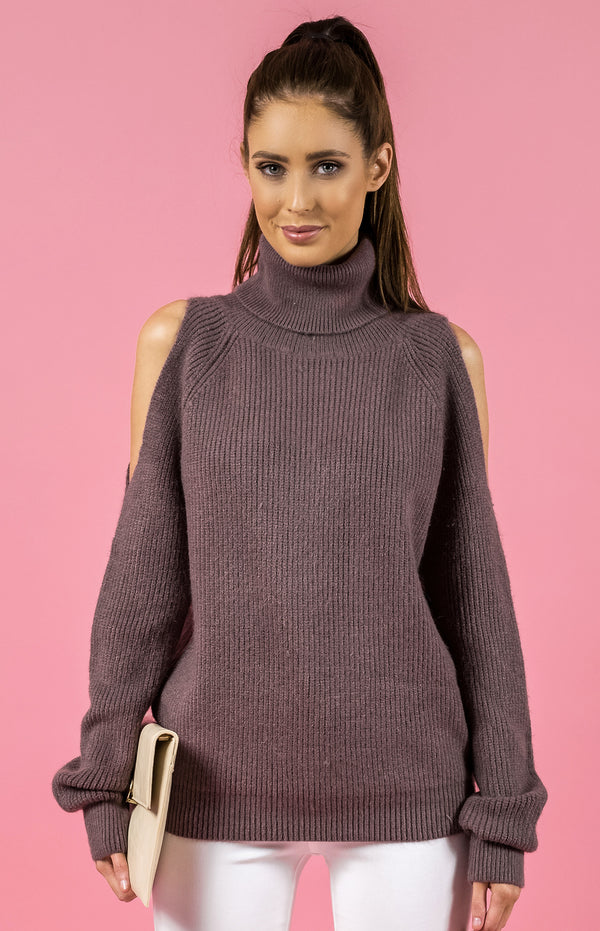 Style State jumper, front crop view of the Cold Shoulder Turtleneck Knit, in mauve.