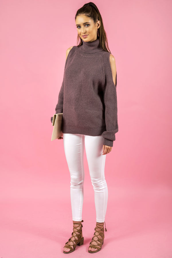 Cold Shoulder Turtleneck Knit in Mauve by Style State  side