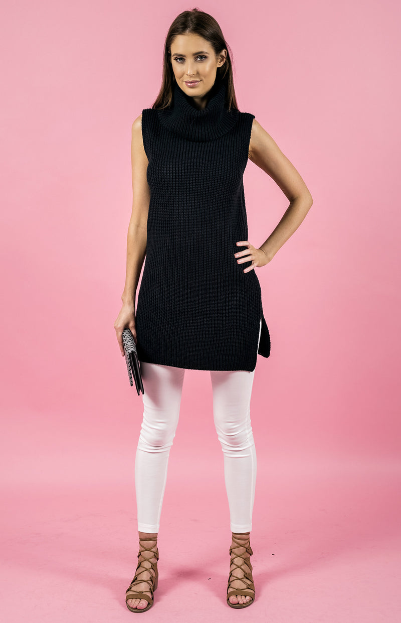 Stylestate dress, full front view of the Sleeveless Turtlneck Knit Dress in black.