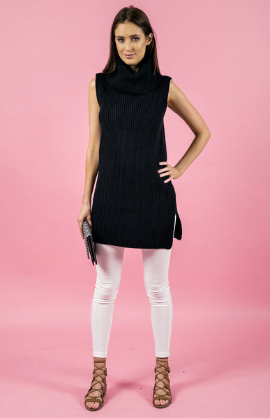 Sleeveless Turtleneck Knit Dress in Black by Style State One Size Fits All