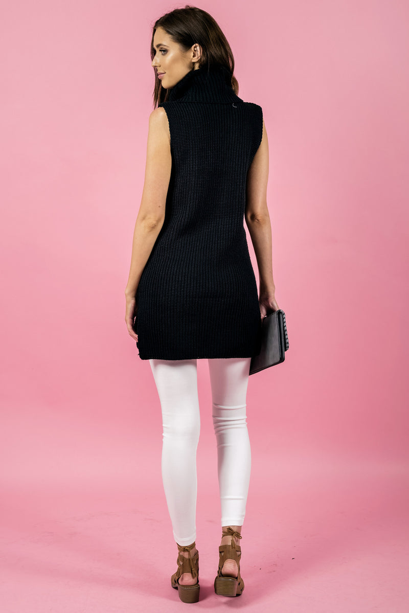 Stylestate dress, back view of the Sleeveless Turtleneck Knit Dress in black.