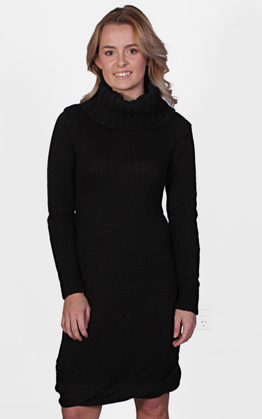 Sara Roll Neck Knit Dress by Madison Square Clothing Front Crop View