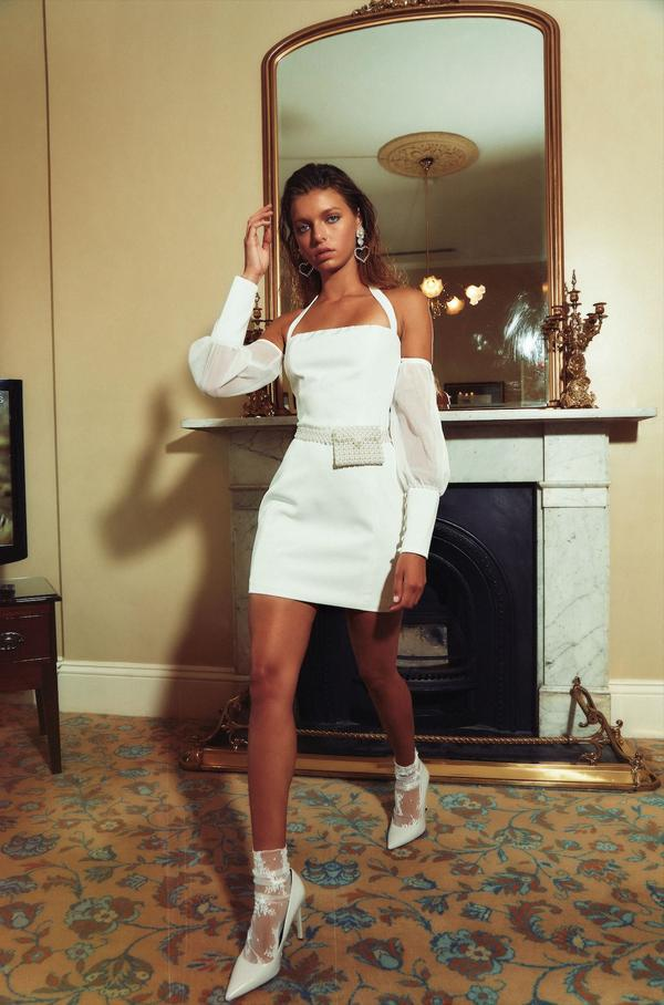Catalina Halter Mini Dress in Ivory by Kianna Magelaki