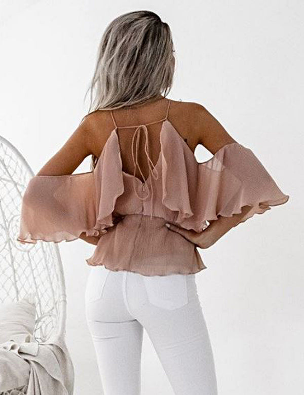Sicily Top in Peach by Two Sisters the Label Back Crop View
