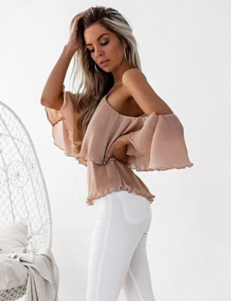 Sicily Top in Peach by Two Sisters the Label Side Crop View