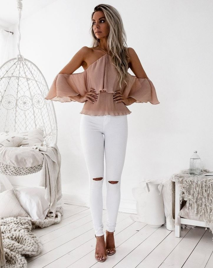 Sicily Top in Peach by Two Sisters the Label Front Full View