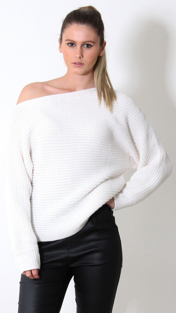 Tiger Mist jumper, front view of off the shoulder jumper Smooth Talker.
