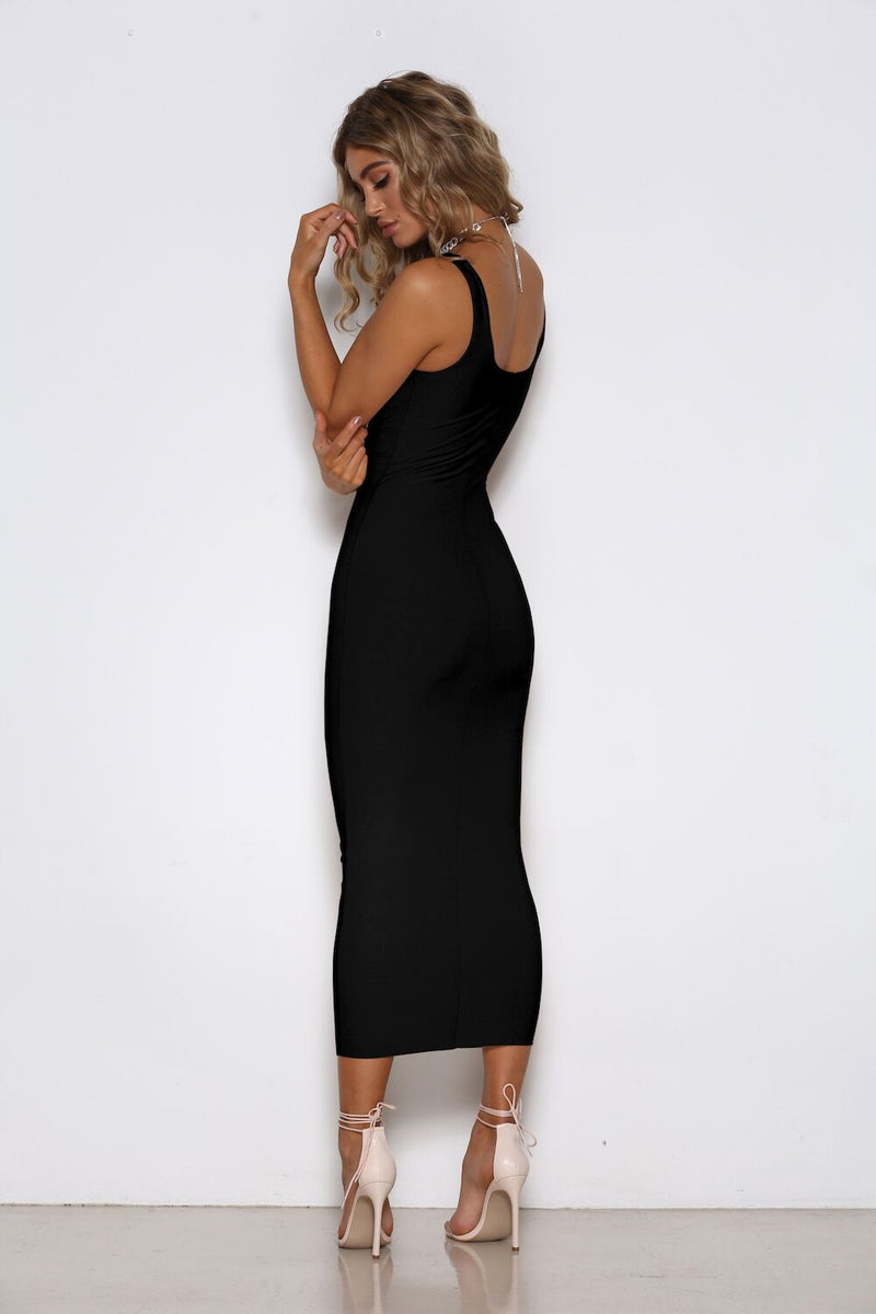 Stella Dress in Black by Shari Benjamin back veiw