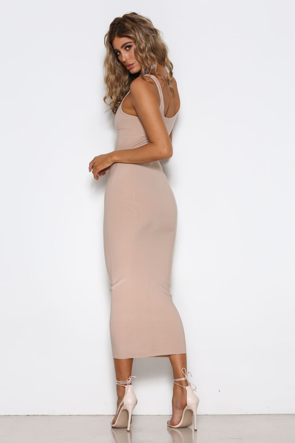 Stella Dress in Nude by Shari Benjamin  back veiw