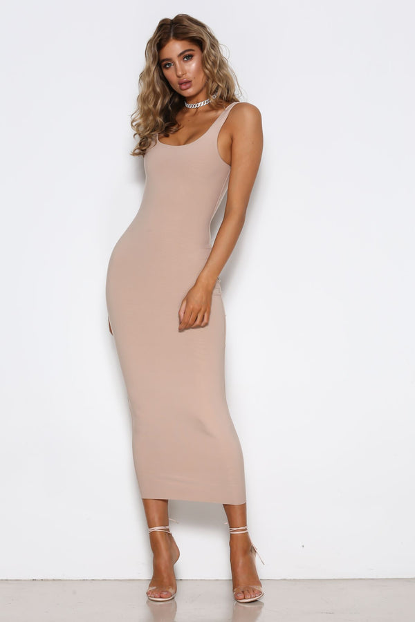 Stella Dress in Nude by Shari Benjamin  front veiw