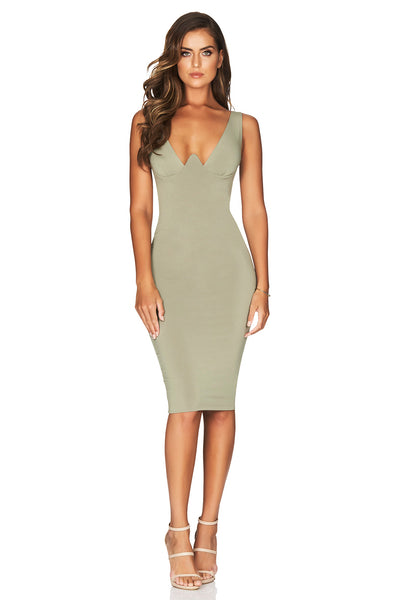 Talia Midi Dress in Khaki by Nookie