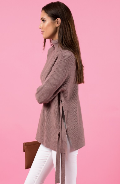 Style State sweater, side view of side tie turtleneck sweater.