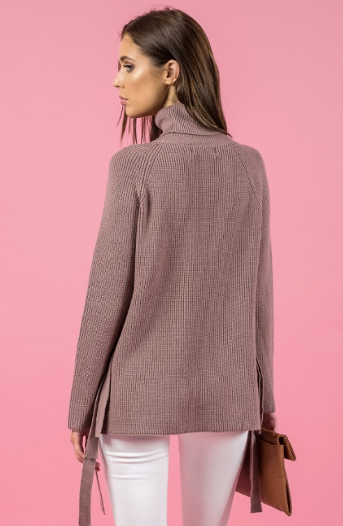 Style State jumper, back view of side tie turtleneck sweater, in taupe.