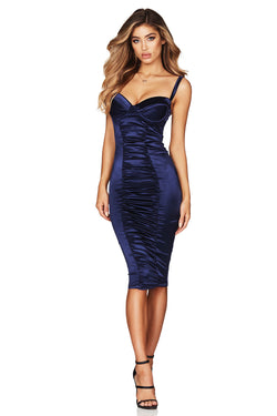 Blue Tease Satin Midi Dress | by Nookie the Label