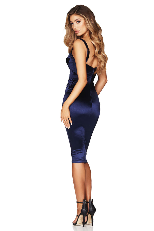 Tease Satin Midi Dress in Navy by Nookie