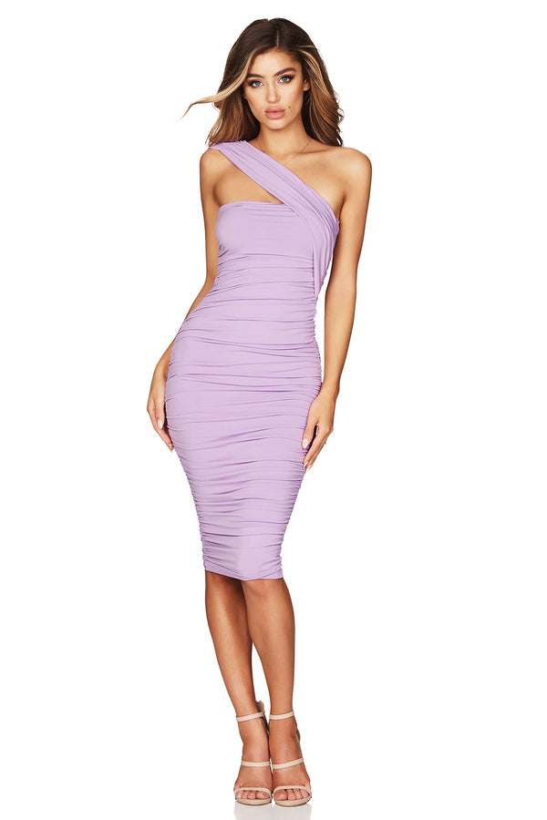 Lilac Temptation One Shoulder Midi Dress | by Nookie the Label
