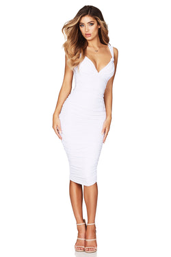 White Temptation Twist Midi Dress | by Nookie the Label