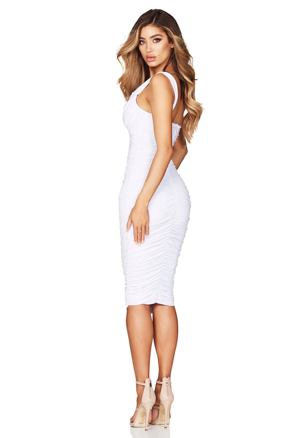Temptation Twist Midi Dress in White by Nookie the Label