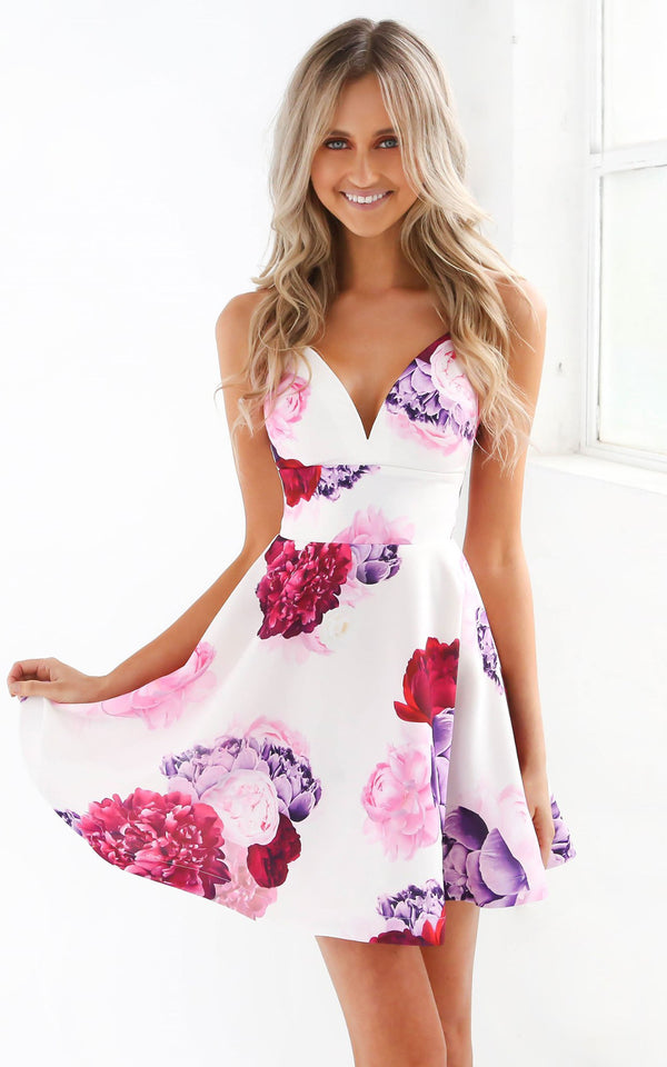 Tiger Mist dresses, front view of floral skater dress Far Reach.