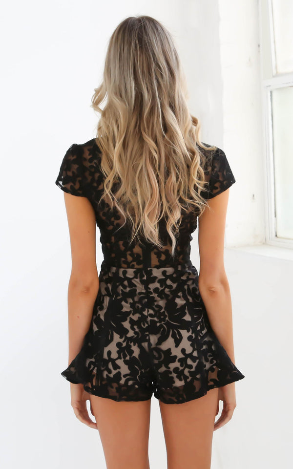 Tiger Mist playsuit, rear view of black lace playsuit Sweet Desire.