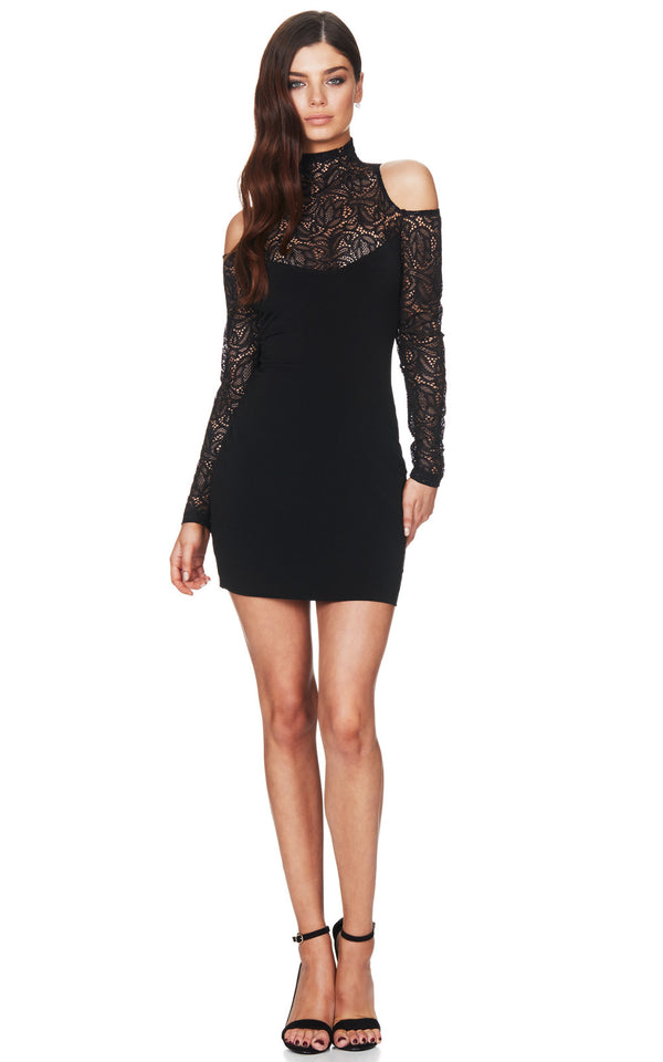 Lolita Lace Mini in Black by Nookie Dresses, front view.