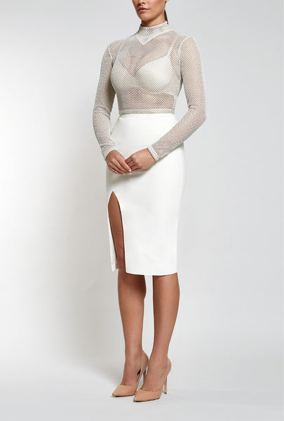 Reign Cartel Skirt, front view of the Unconditional Midi in Nude.