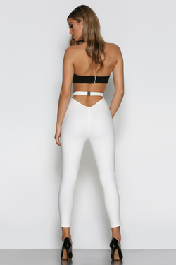 Front view of Bad AF Fashion pants, the Marchesa Pants in white.