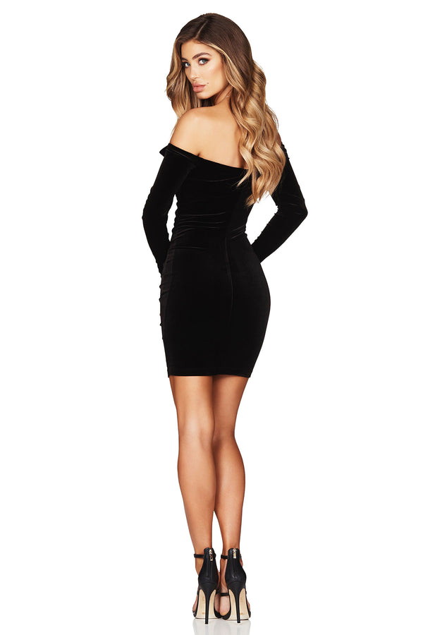 Black Velvet Vixen Long Sleeve Mini Dress | by Nookie the Label