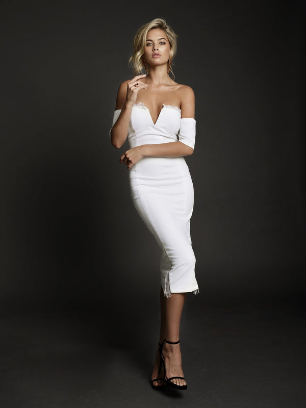 Duke n Co Dress, front view of the Chloe Dress in white.