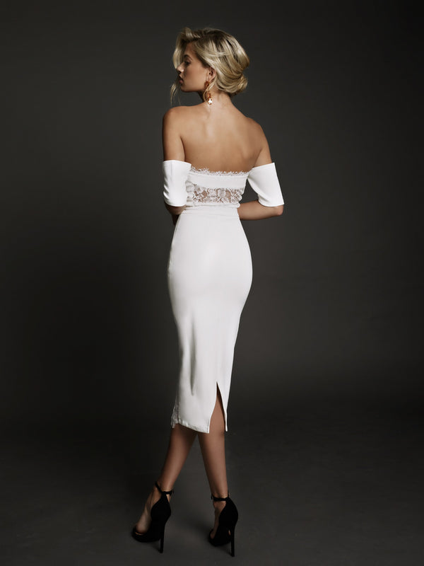 Duke n Co Dress, back view of the Chloe Dress in white.