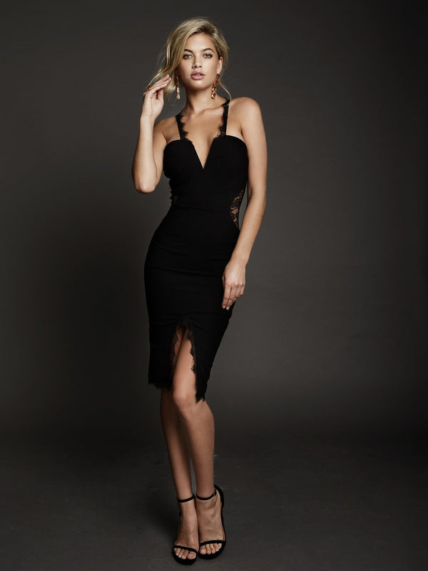 Duke n Co dress, front view of the Victoria Dress in black.