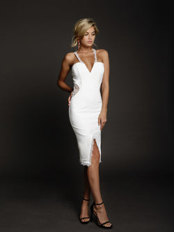 Duke n Co dress, front view of the Victoria Dress in white.
