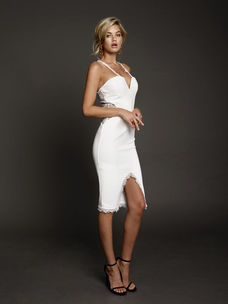 Duke n Co dress, side view of the Victoria Dress in white.