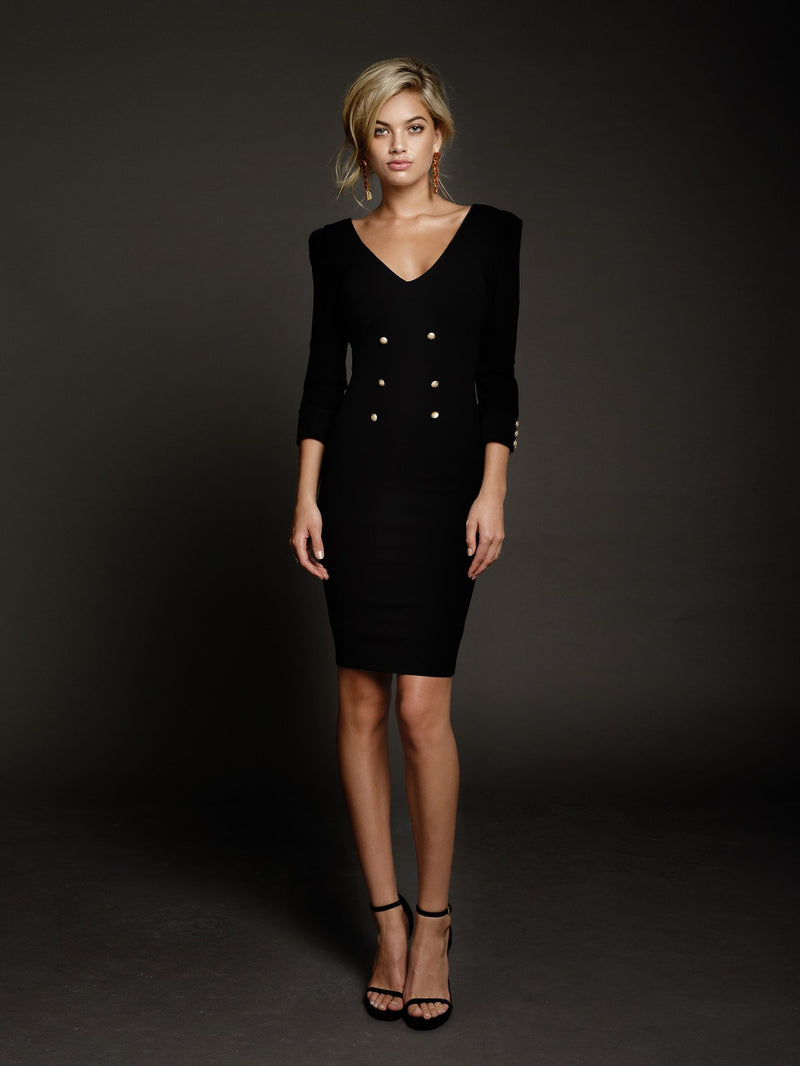Duke n Co dress, front view of the Larissa Dress in black.